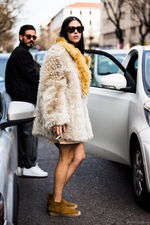 Milan Fashionweek FW 2015 day 5, outside MSGM, Gilda Ambrosio